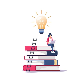 Person gains knowledge for success and better ideas. education, online courses and business, distance education, online books and study guides, exam preparation, home schooling,  illustration.