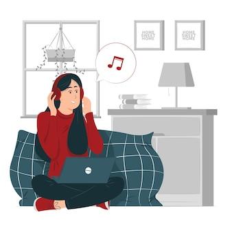 人、女の子、自宅で仕事をしながら音楽を持つ女性コンセプトイラスト