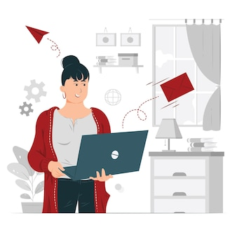 Person, girl, a woman sending email concept illustration