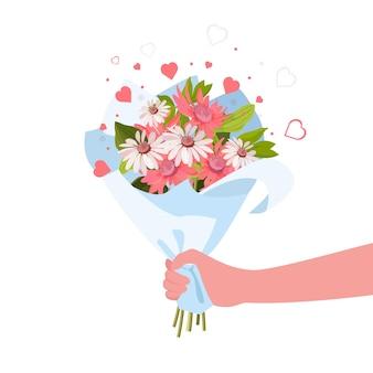 Человек, дающий букет цветов. романтика и концепция подарка.