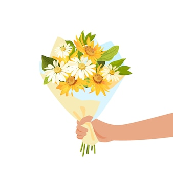 Person giving flowers bouquet. romance and gift concept.