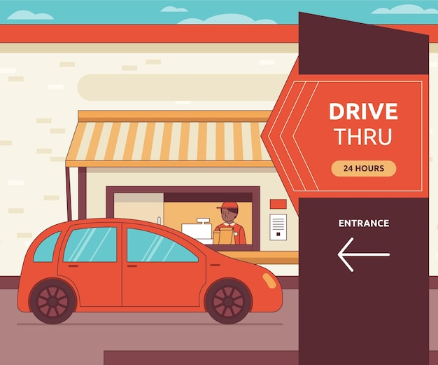 Person going to a drive thru illustration