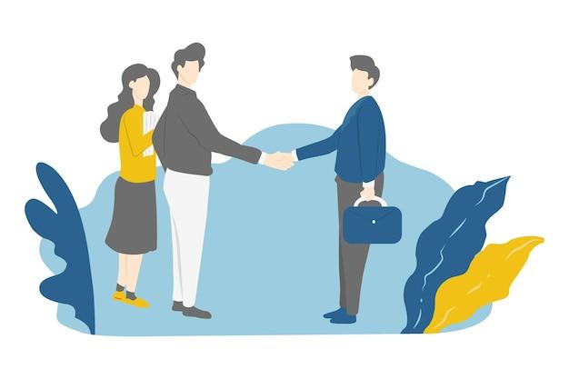 人の握手は相互取引に同意します