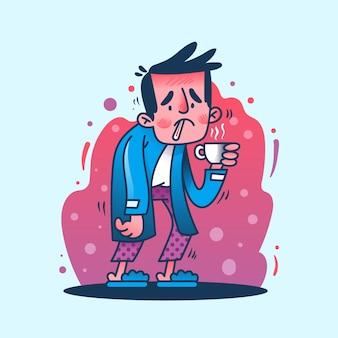 Una persona che ha il raffreddore