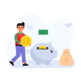Человек, держащий деньги и копилку плоскую иллюстрацию сбережений