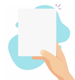 Person holding paper sheet blank empty copy space template vector
