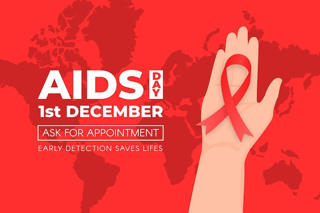 Person holding a red ribbon on world aids day background