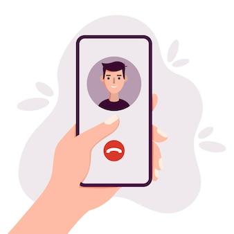스마트폰을 손에 들고 화상 채팅 모바일 앱 통신 개념을 통해 전화하는 사람