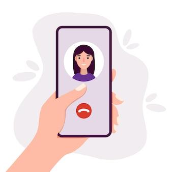 스마트폰을 손에 들고 화상 채팅 모바일 앱 플랫 커뮤니케이션 개념을 통해 전화하는 사람
