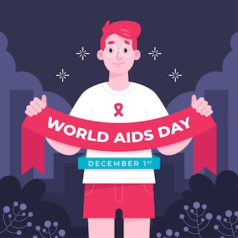 Person holding a world aids day ribbon
