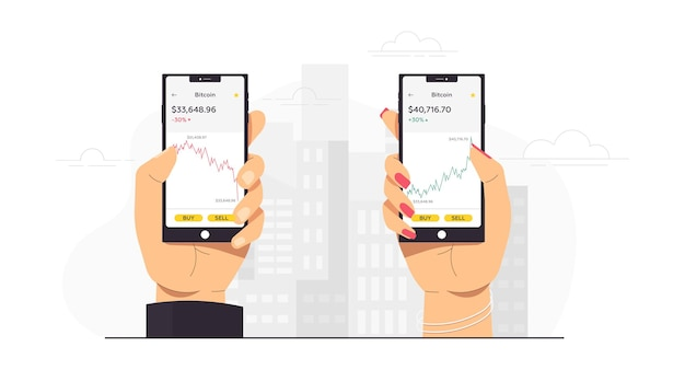 A person holds a phone and sells buys bitcoin
