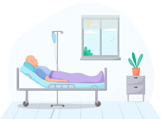Person in hospital room cancer patient on intravenous therapy treatment in warm medical case