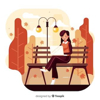 秋の公園の人