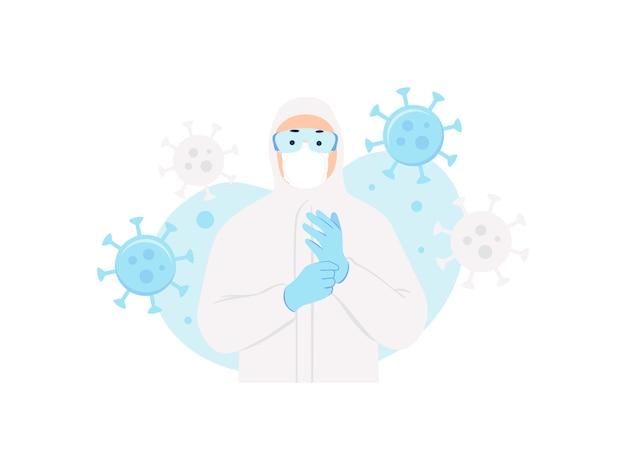 Человек в защитном костюме и маске против вируса концепции иллюстрации