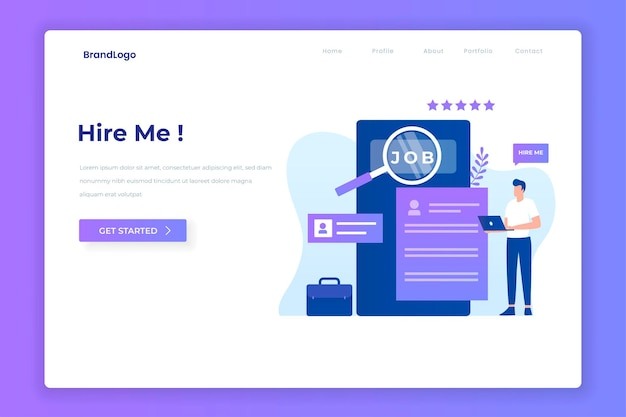 Person looking for work illustration design for websites landing pages