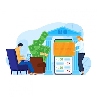 Person male use online mobile banking transfer cash to character woman, internet transition fund isolated on white, cartoon illustration.