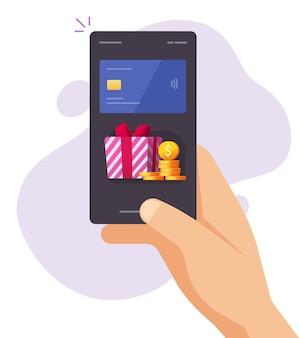 人の男は携帯電話のお金の銀行のクレジットカードでギフトボーナス報酬を得ました