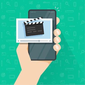 휴대폰 휴대 전화에서 비디오 영화 콘텐츠 생성 또는 편집 응용 프로그램을 가진 사람 남자