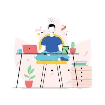 オンライン作業後に瞑想する人
