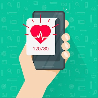 Person monitoring heart beat rate and blood pressure app via mobile cell phone flat design