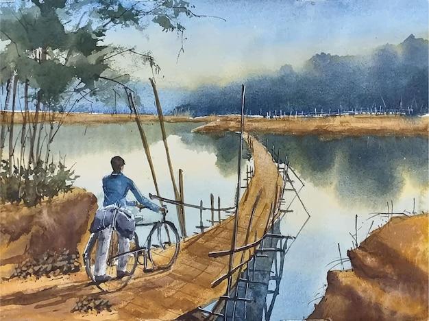 水彩風の自転車で湖の人