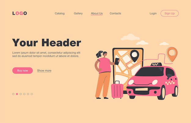 Person ordering cab to airport online. big screen with route on city map, taxi car, passenger with luggage.  landing page for travel, transportation, transport service concept