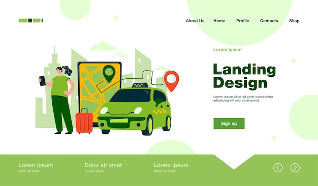Person ordering cab to airport online landing page in flat style