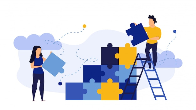 Person people man and woman connect jigsaw business puzzle flat background concept