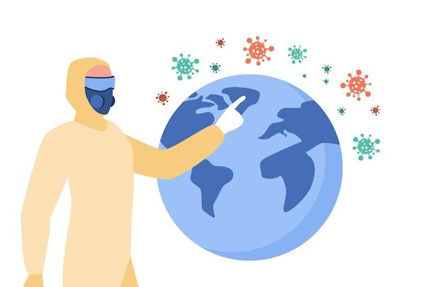 Persona che presenta la diffusione del coronavirus. uomo in costume protettivo e maschera che punta all'illustrazione piana del globo.