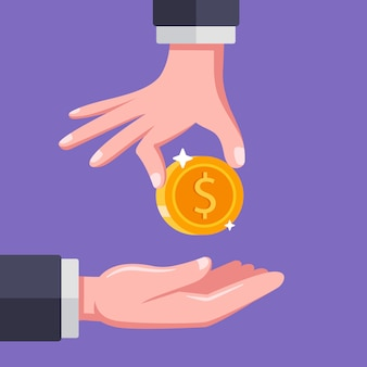 The person puts his hand in the outstretched palm. remuneration to the employee.   illustration.