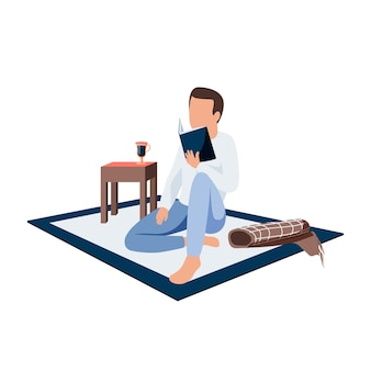Человек читает дома