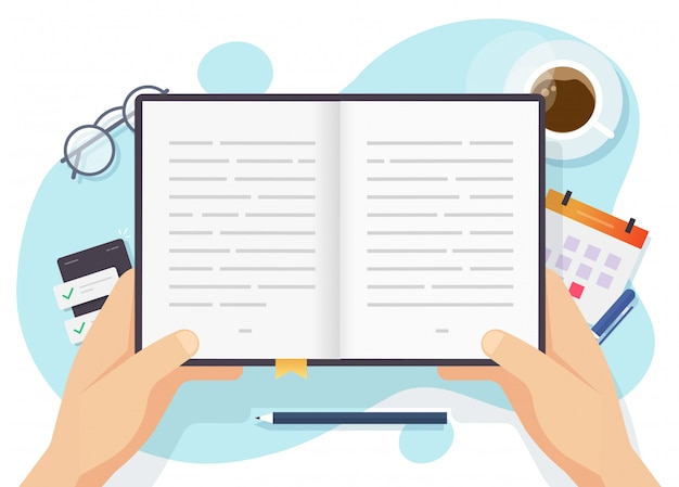 Person reading paper book vector top view on table desk