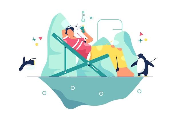 사람은 빙산에서 휴식을 취합니다. 평면 스타일 주위에 음료와 펭귄 아이스 큐브에 휴식하는 남자. 레저, 겨울, 휴가 개념.