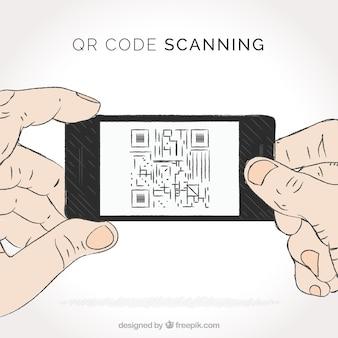 Person scanning qr code background
