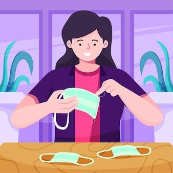 医療マスクイラストを縫う人