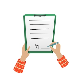 Person signs the document concept illustration