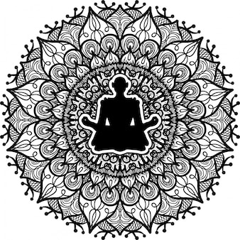 Person sitting in lotus pose silhouette