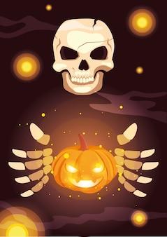 Person skeleton in halloween scene