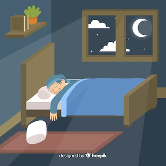 Person sleeping in bed background