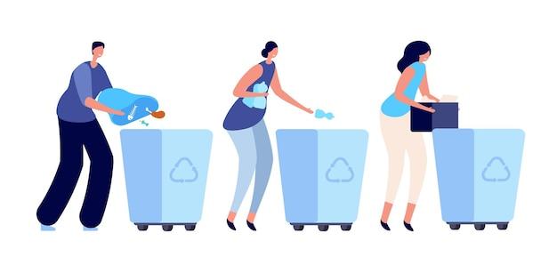 ごみを分別する人。ごみ箱、ごみ容器のリサイクル。若者のライフスタイル、エコロジー活動家のプラスチックベクトルの概念。ごみ箱、リサイクルと分別、仕分けイラスト