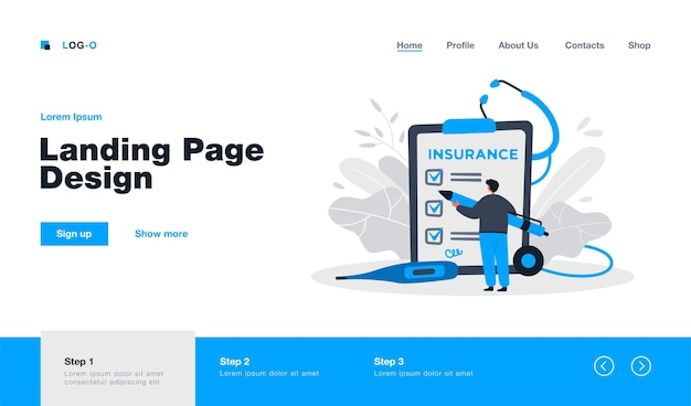 Person studying terms and signing health insurance agreement landing page in flat style