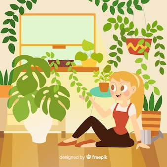 Person taking care of plants