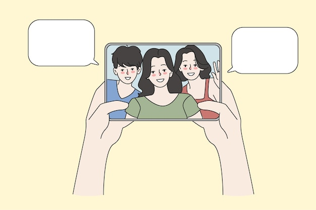 Person talk on video call on pad with friends