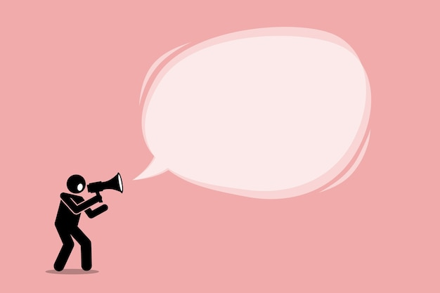 확성기를 사용하여 이야기하고 외치는 사람. 마케팅, 판촉 및 광고의 개념.