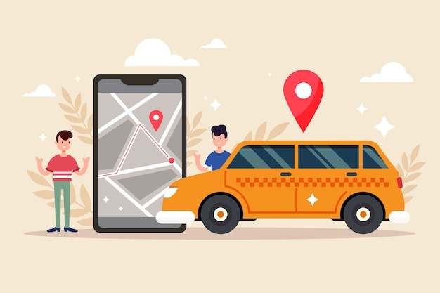 Person next to taxi app on phone illustration