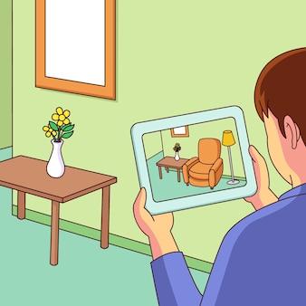 タブレットで拡張現実を使用している人