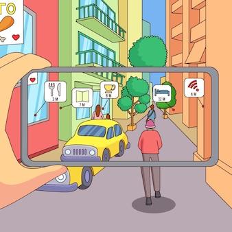Persona che utilizza la realtà aumentata sullo smartphone
