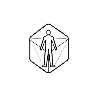 Person in virtual reality 360 degrees hand drawn outline doodle icon. concept. 3d digital world concept