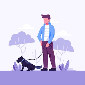 Person walking the dog illustration