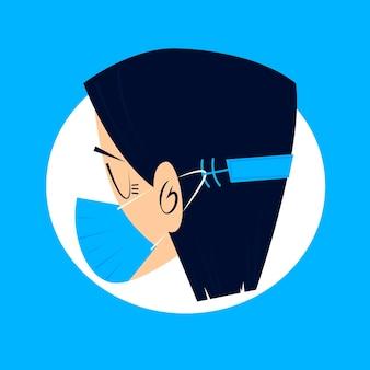 Persona che indossa un cinturino per maschera facciale regolabile